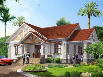 Thiết kế nhà vườn 1 tầng với diện tích 12x13m