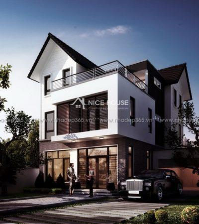 Thiết kế biệt thự 3 tầng mái dốc Bắc Ninh