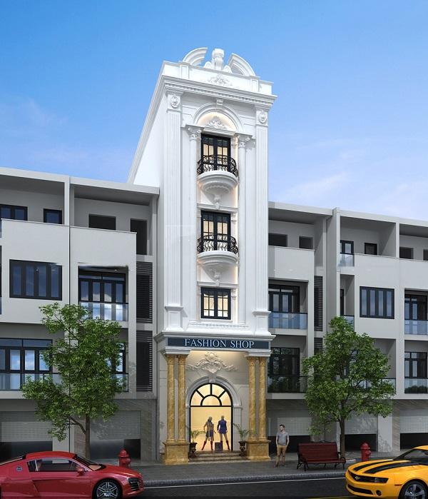 Mẫu mặt tiền nhà phố tân cổ điển chiều ngang 4m 3 tầng