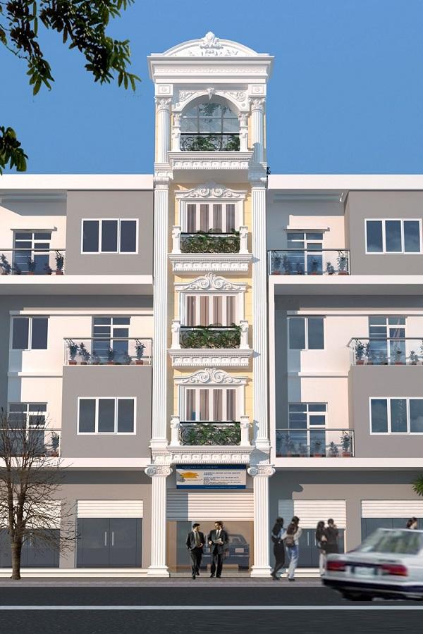 Mẫu mặt tiền nhà phố tân cổ điển 1 mặt tiền chiều ngang 4m 5 tầng