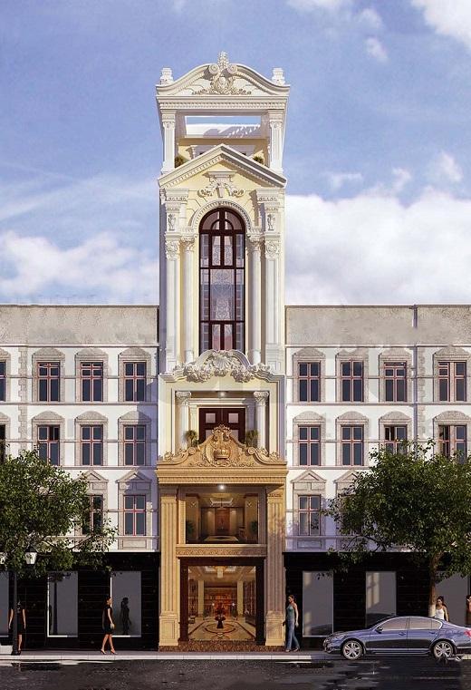 Mẫu mặt tiền nhà phố tân cổ điển chiều ngang 4,5m 6 tầng