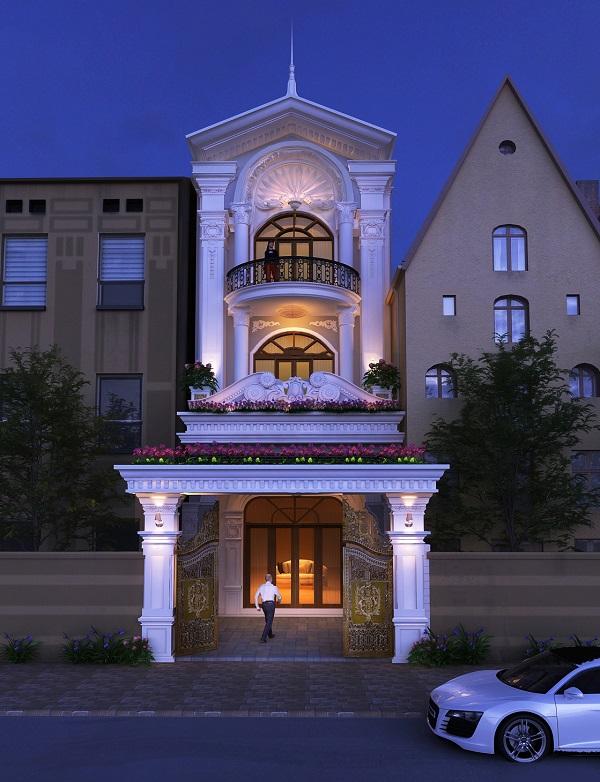 Mẫu mặt tiền nhà phố tân cổ điển chiều ngang 5m 3 tầng