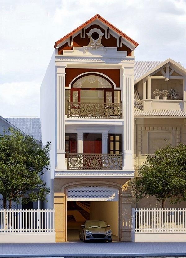 Mẫu mặt tiền nhà phố tân cổ điển chiều ngang 4,5m 3 tầng