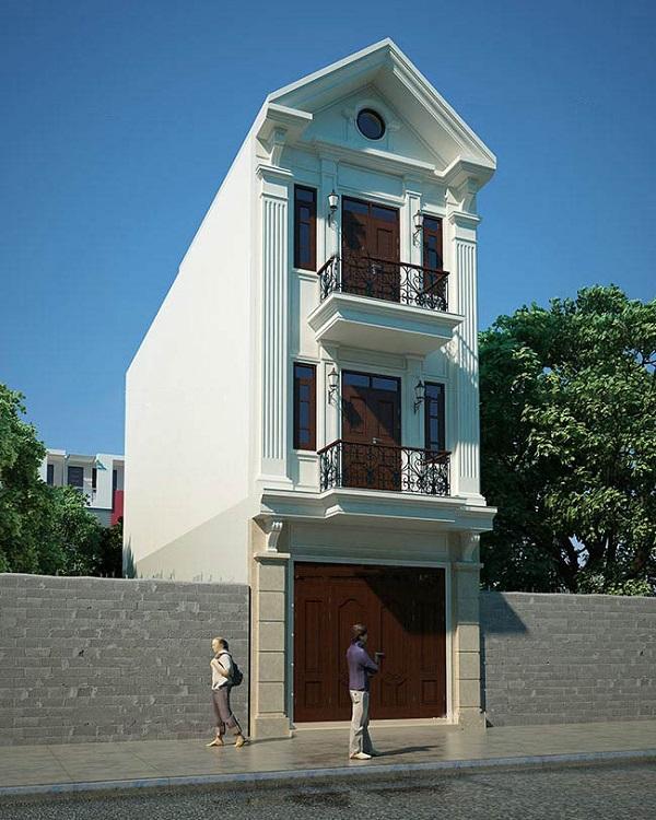 Mẫu mặt tiền nhà phố tân cổ điển chiều ngang 4m 3 tầng mái thái