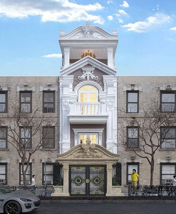 Mẫu mặt tiền nhà phố tân cổ điển chiều ngang 5m 5 tầng
