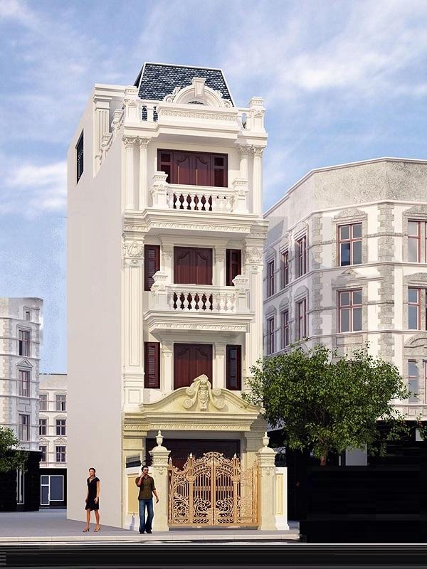 Mẫu mặt tiền nhà phố tân cổ điển chiều ngang 4m 4 tầng