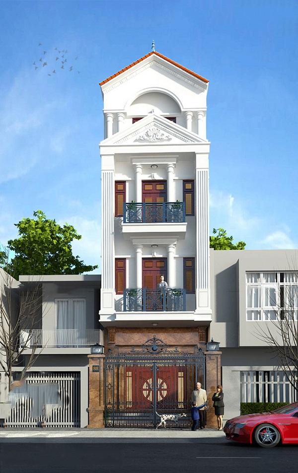 Mẫu mặt tiền nhà phố tân cổ điển chiều ngang 4,5m 4 tầng