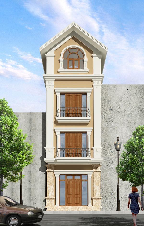 Mẫu mặt tiền nhà phố tân cổ điển chiều ngang 5m 4 tầng