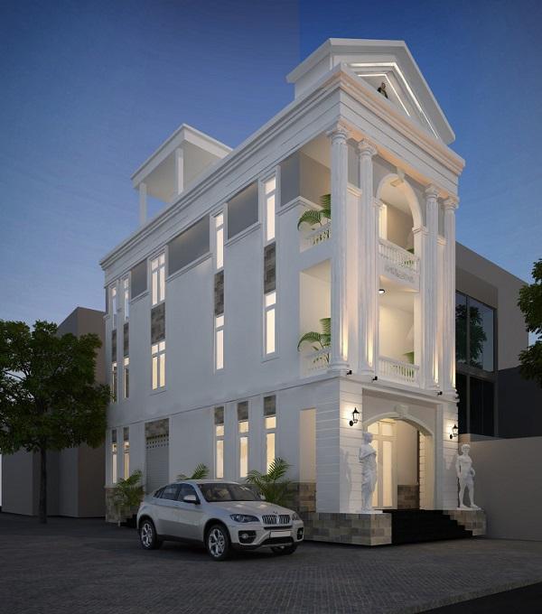 Mẫu mặt tiền nhà phố tân cổ điển 2 mặt tiền chiều ngang 5m 5 tầng
