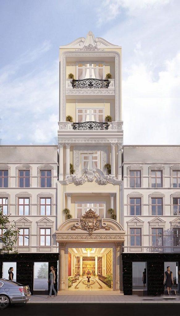 Mẫu mặt tiền nhà phố tân cổ điển 1 mặt tiền chiều ngang 5m 5 tầng